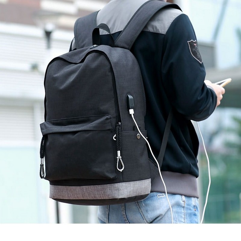 canvas backpack for teens Casual Back Pack USB High school bags for Teenagers Boys Schoolbag black