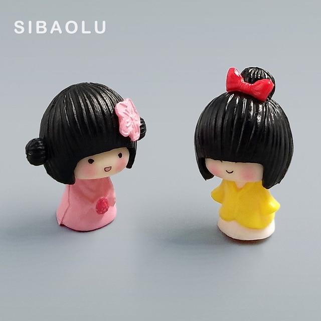 2pc/lot mini Janpanese Girl figurine Bonsai Moss people ornament home decor miniature fairy garden decoration accessories modern 1
