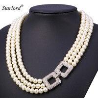 Starlord Pearl Necklace Jewelry Multi Layer White Rhinestone Fashion Bridal Jewelry& Gift Box Choker Necklace Women N1537