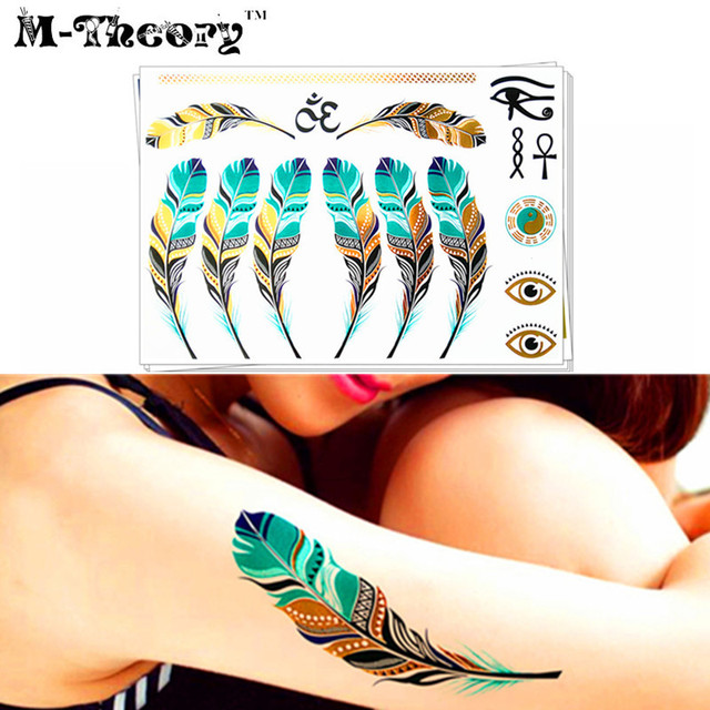 9e2dd74f0 M-theory 3D Metallic Gold Choker Temporary Tattoos Body Art Emerald  Feathers Henna Flash Tatoos Sticker Swimsuit Makeup Tools