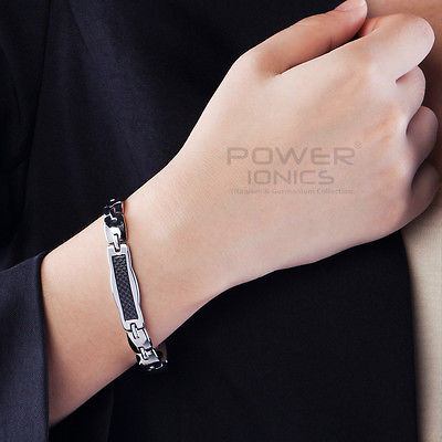 цена на Power Ionics Titanium Germanium Magnetic Black Fiber Bracelet Balance Band