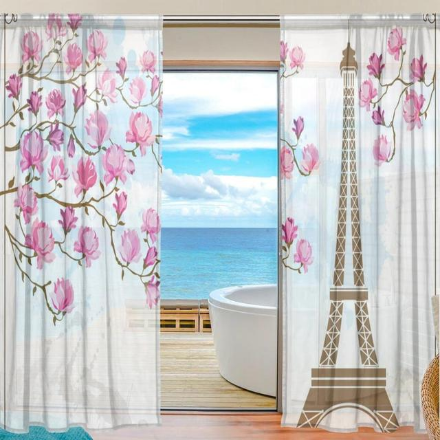 Sheer Door Curtain Panels W55xL78 Inch/W55xL84 Inch,Eiffel Tower And Pink  Flower,Window Curtains Voile Sheers 2 Panels Set