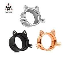 KUBOOZ Estilo Cat Ear Piercing Túneis Gauges Plugs Jóia Do Corpo Da Moda Brincos de Aço Inoxidável Para As Mulheres Homens 10 pçs/lote