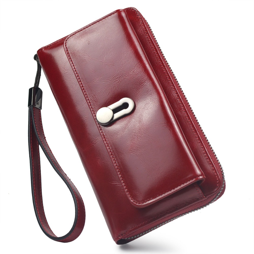 Women Wallets Genuine Leather High Quality Long Design Clutch Cowhide Wallet High Quality Fashion Female Purse 2018 new women wallets oil wax genuine leather high quality long design day clutch cowhide wallet fashion female card coin purse