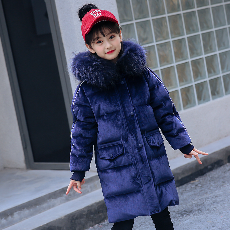 2018 New Blue Children Winter Jacket Girl Winter Down Coat Kids Warm Thick Fur Collar Hooded long down Coats For Teenage 5-14Y 5 14y high quality boys thick down jacket 2016 new winter children long sections warm coat clothing boys hooded down outerwear