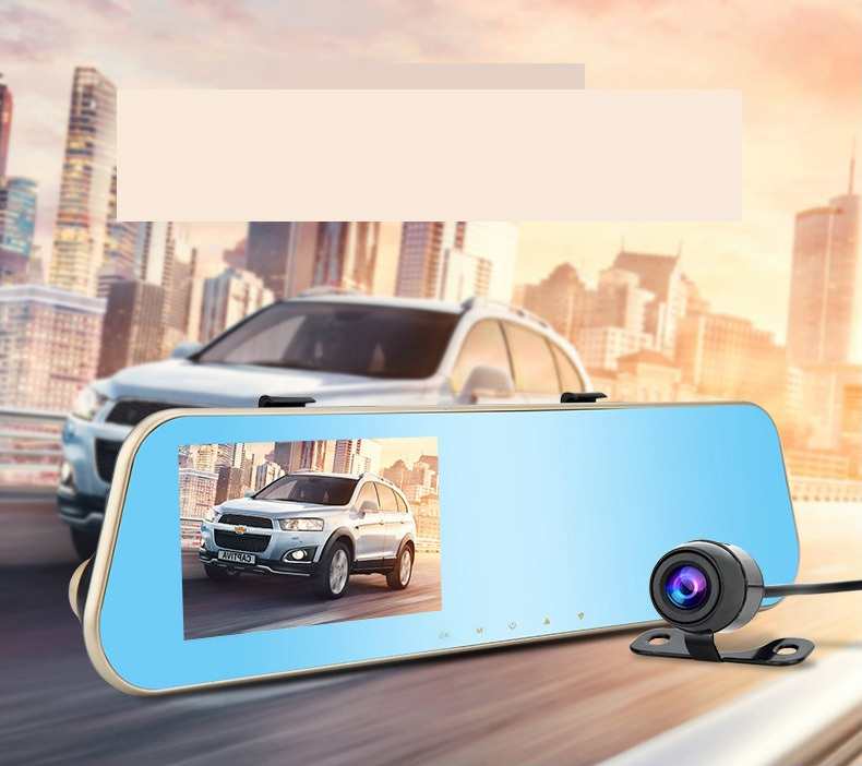 4.3 inch car dvr vehicle Full HD dual lens 1080P Camera Video Recorder wide angle Dash Cam G-sensor 1200 mega rear view mirror