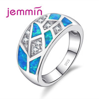 Jemmin Simple Geometric Blue Created Fire Opal Rings for Women Trendy Engagement Wedding Band Jewelry 925 Sterling Silver Ring