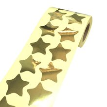 Купить онлайн Большой Gold Star Форма Наклейки 1.2 дюймов Блестящий металлический Фольга-учитель поставки 500 шт.