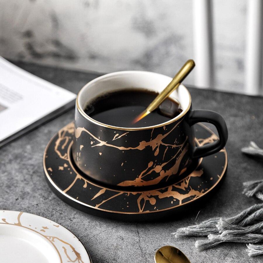 criativo design dourado porcelana xícara de chá