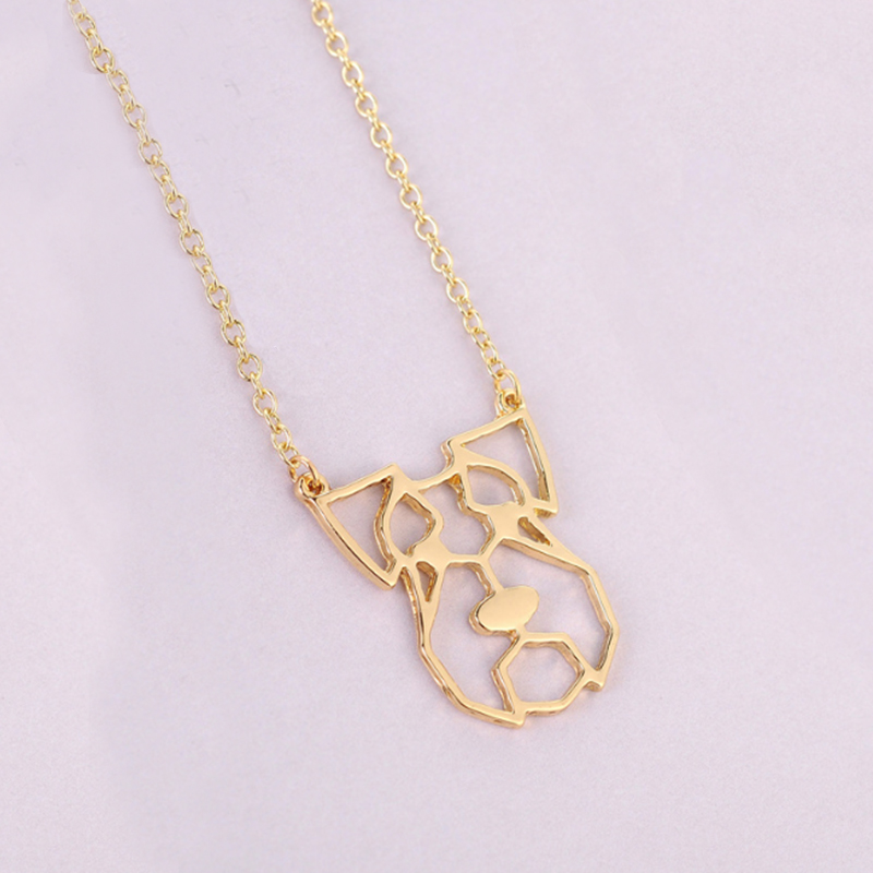 Everfast 1pc Origami Pig Big Ear Head Pendant Collar Necklaces Cute Little Hollow Animal Lovers Jewelry Accessories Anime