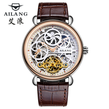 Deluxe automatic mechanical watch dial dual time zone function group male sun and moon stars display leather watch skeleton