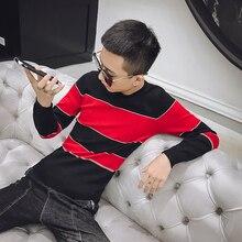 Новая мода Горячая бренд осень мужская повседневная Высококачественная Большая одежда с полосками мужской тонкий корейский стиль o-образным вырезом обтягивающий свитер