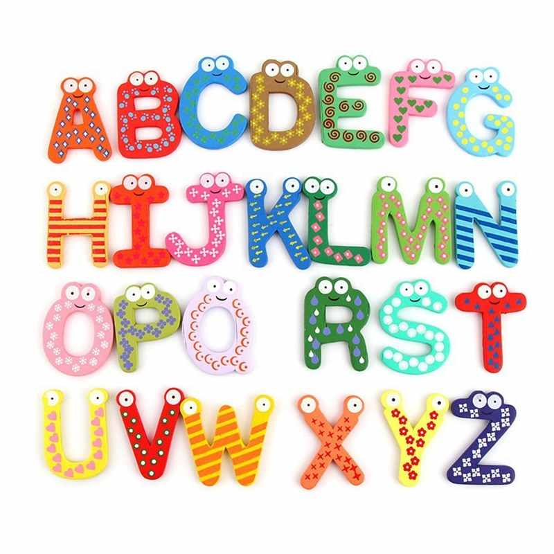 Wooden Alphanumeric Refrigerator Stickers Children's Intelligent Development Toys Refrigerator Decorative Magnets Student Gifts
