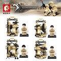 4 conjuntos deserto falcão parede equipamentos de comandos do exército guerra figura de construção de mini brinquedo arma arma sy 11209-11212 compatível com lego