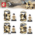 4 sets Desert Falcon Commandos War Army Equipment Wall Weapon Gun figure Building Mini Toy SY 11209-11212 Compatible With Lego