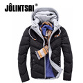 Jolintsai Winter Jacket Mens Warm Thick Down Jacket Men Slim Fit Patchwork Hooded Hooded Down Coat Men Casual Parka