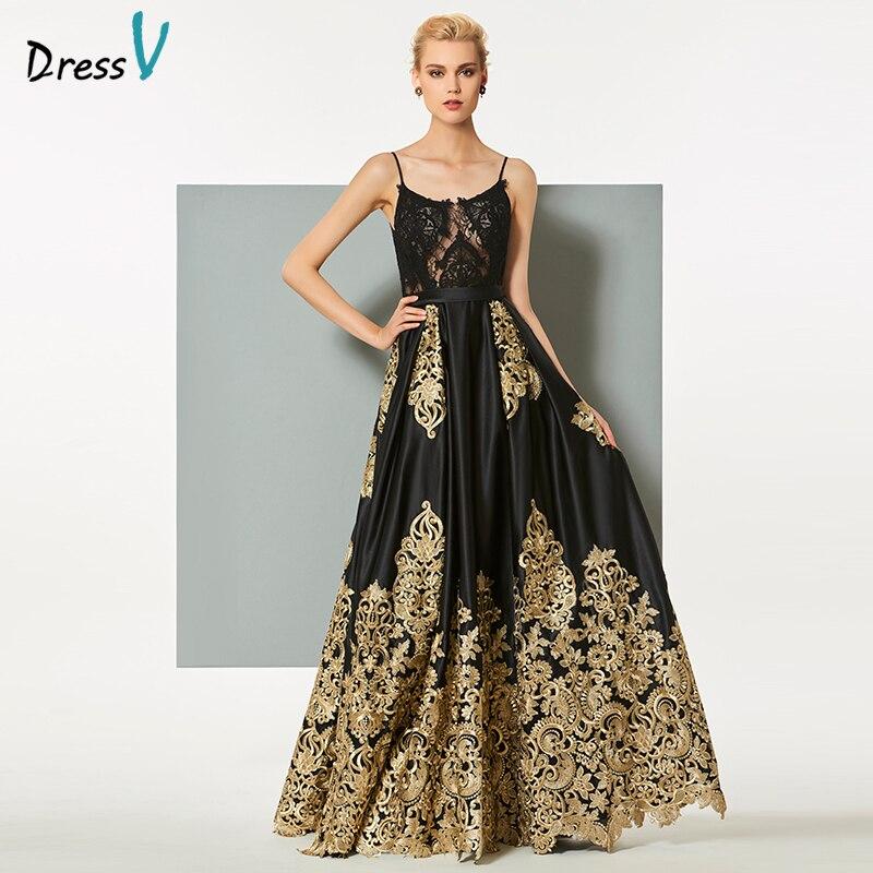 Dressv black long   evening     dress   elegant spaghetti strap sweep train zipper up wedding party formal   dress   lace   evening     dresses
