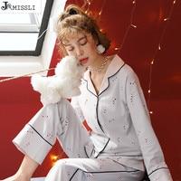 JRMISSLI Women Sleepwear 100% Cotton Pyjamas Women Cartton Print Female Suit Tops+Pants Women Pajamas Casual Home Wear Sleep