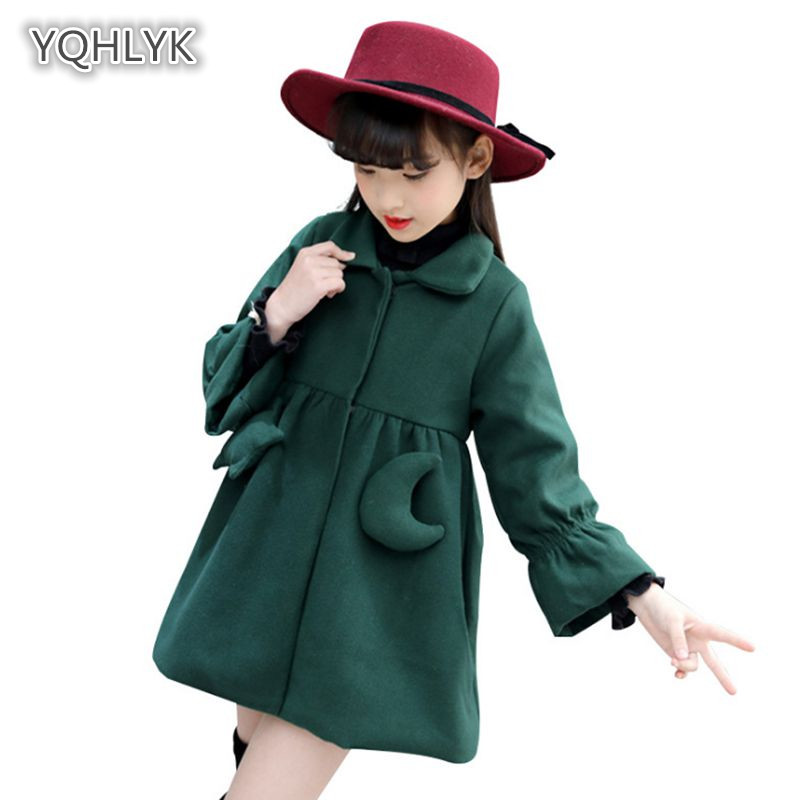 Children autumn winter girl woolen coat Korean warm loose girl jacket thick coat long Slim kids Parkas Outerwear & Coats LK097 недорго, оригинальная цена
