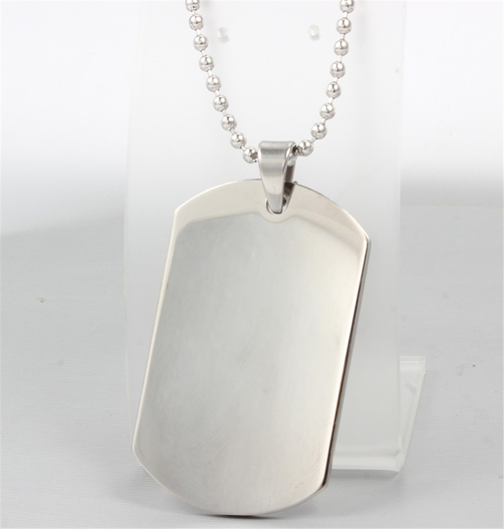 1pc Stainless Steel Silver Tone Military Air Force Plain Dog Tag Pendant Necklace for Boyfriend
