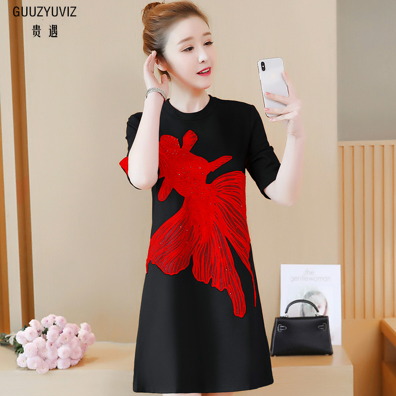 GUUZYUVIZ Summer Clothers For Women 2018 Casual Plus Size 4XL Embroidery Dress O-Neck Robe Femme Polyester Dresses Black