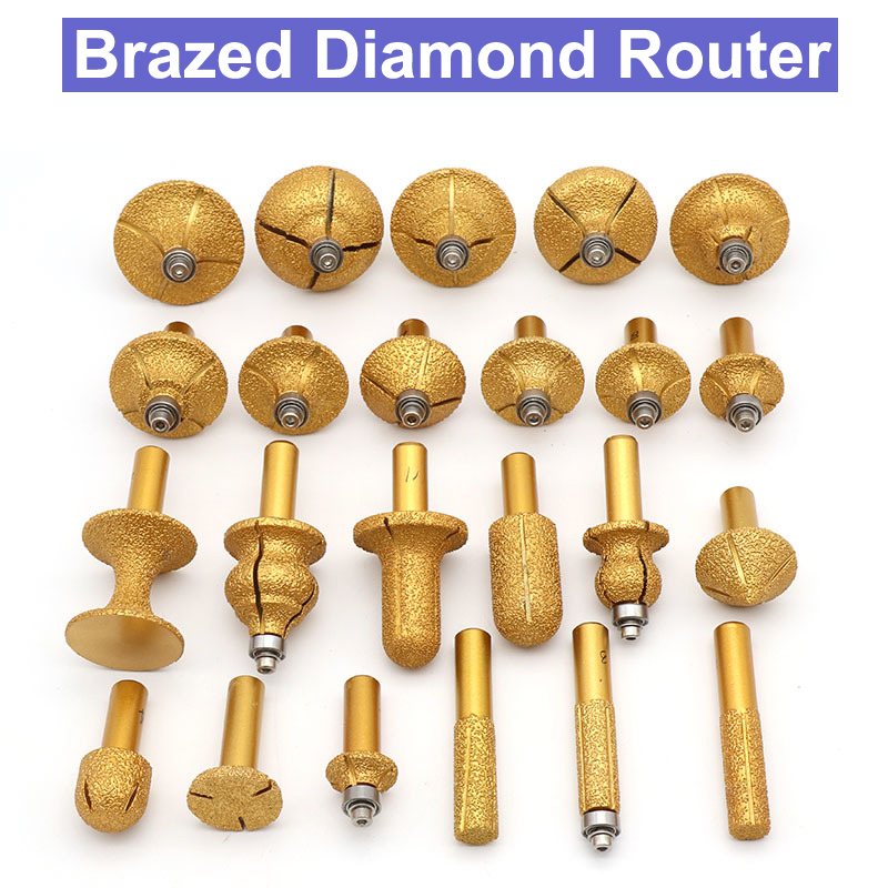 1pc Straight Diamond Vacuum Brazing Brazed Router Finger Bit Grinding For Marble Granite Knife Brazed Diamond Router Bits Cutter