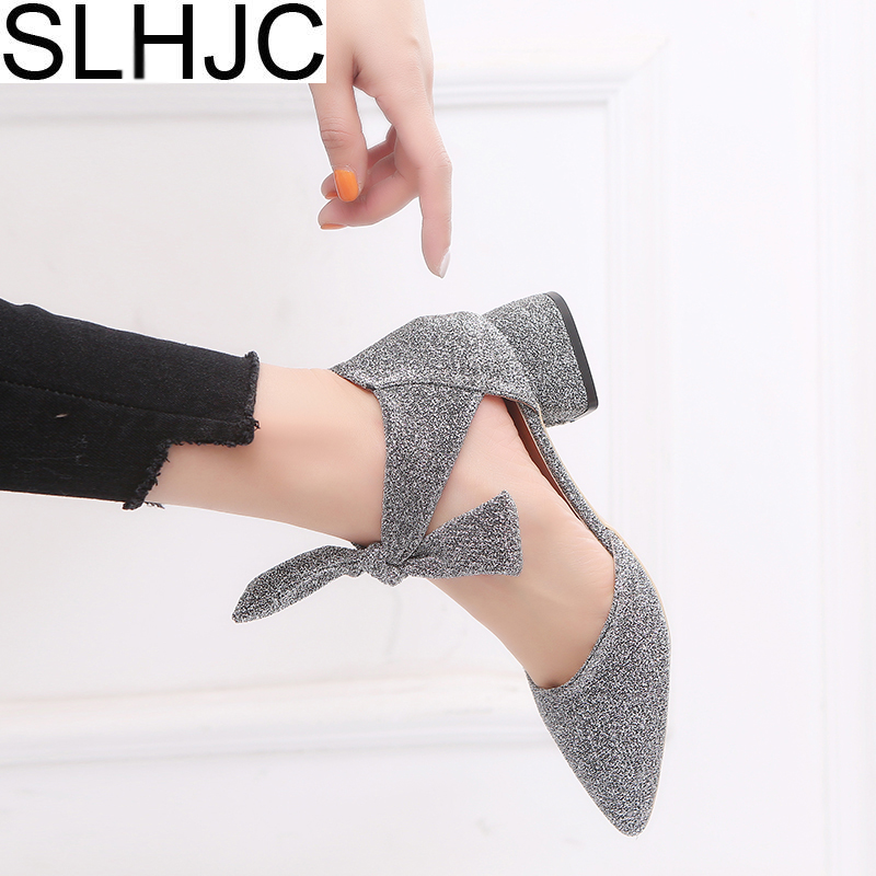 SLHJC 2018 Spring Summer Med Heel Shoes Square Heel Pointed Toe Bling Pumps Shoes Women Casual Sandals 4 CM Heel slhjc 2017 summer flats cool sandals flat heel pointed toe cutout jelly shoes durable wear sandals beach travel shopping shoes