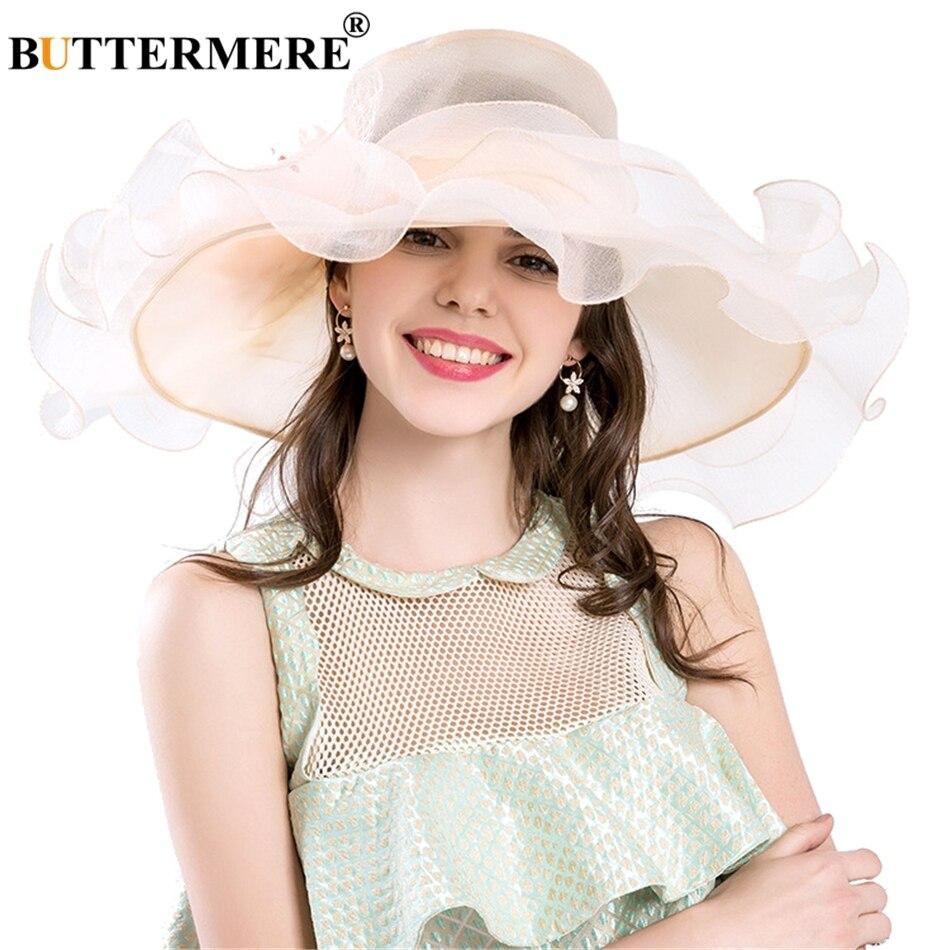 b7e0596ddfb1b Aliexpress.com   Buy BUTTERMERE Purple Sun Hats Women Organza Elegant  Kentucky Derby Hats Ladies Flower Wedding Formal Summer Church Caps Female  from ...