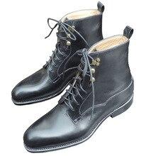 Sipriks/Мужская обувь; Роскошные Прошитые сапоги для дерби из натуральной кожи; Черные ботильоны; Американские рабочие ботинки; обувь