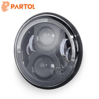 Partol 7inch 36W Round LED Projector Headlight With Halo Ring Angel Eye Hi Lo beam H4 canbus harness 12V/24V For Touring Softail