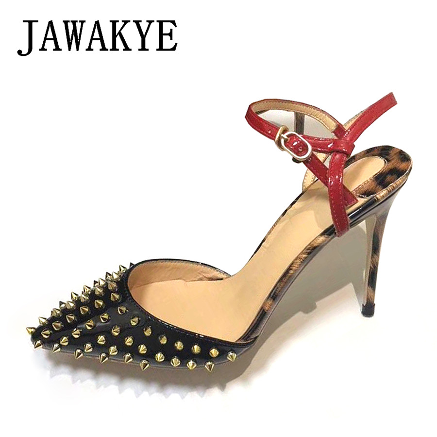 de018a57aeb80 2018 New Spike Studded Women Sandals Sexy Leopard High Heels Party Shoes  Woman Slingback Rivets Summer Shoes Sandalias mujer