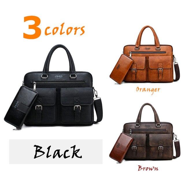 JEEP BULUO Marca Briefcase Bag 2 Man'sBusiness pçs/set Dividir Couro de Alta Qualidade Dos Homens Sacos De escritório Para 13. 3 polegadas portátil a4 causel 3