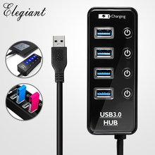 Mini 4 Ports USB 3.0 HUB Portable High Speed Fast Charging 5Gbps with Separete Switch Hub USB Splitter Adapter For PC Laptop