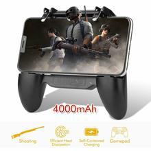 Controle de gamepad para celular pubg, power bank, bateria de 4000mah, controle de jogos com ventilador de refrigeração, gatilho de joystick para celular telefone móvel