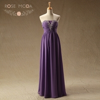 Rose Moda Purple Floor Length Homecoming Dresses Plus Size White Ivory Wedding Party Guest Dress Real