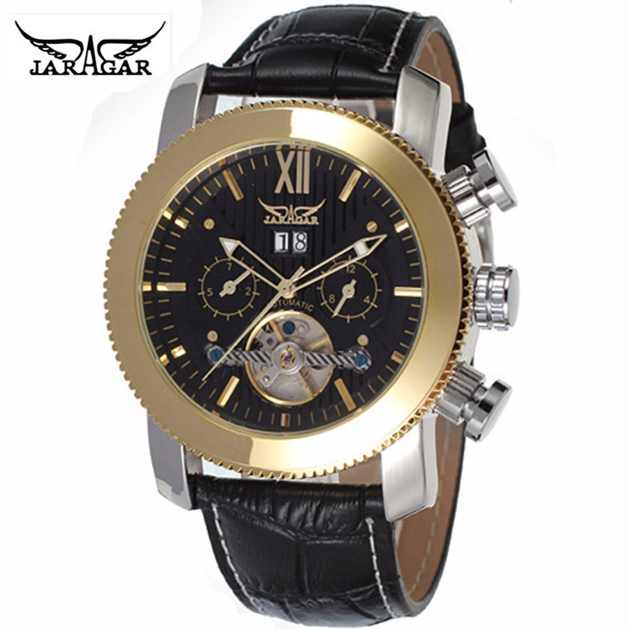 лучшая цена New Original JARAGAR Watch Automatic Mechanical Watches Leather Tourbillon Flywheel Mens wristwatch relogio masculinos Watch Box
