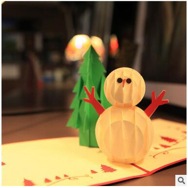 2017 New Year Fashion 3D Snow man  Christmas  Card Tri-Folding Type Christmas Decorations For Home yeduo woman sexy apron new year christmas decorations