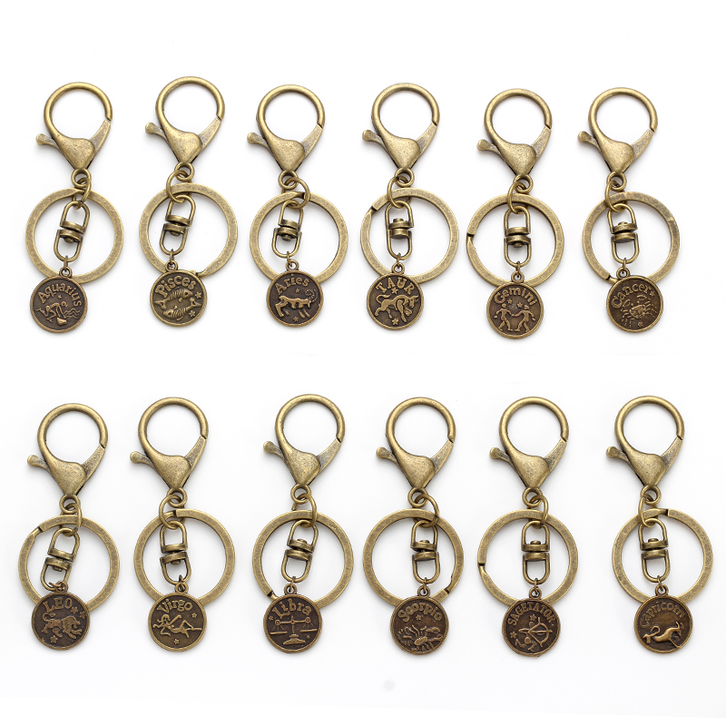Lucky Eye 12 Constellation Key Chains Casual Personality Zodiac Signs Pendant Charms Keychain Men Women Jewelry Antique Copper