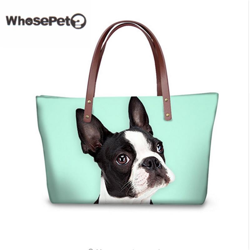 WHOSEPET Corgi Shoulder Bags for Women Cute Handbags Animal Printing Lady Tote Boston Terrier Top-handle Bags Beach Totes Hobo