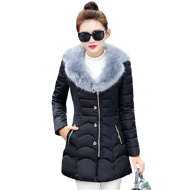 2016 Winter Jacket Women Slim Thicken Cotton-padded Jacket Outerwear Large Fur Collar Medium-long Winter Coat Women Parka AA136
