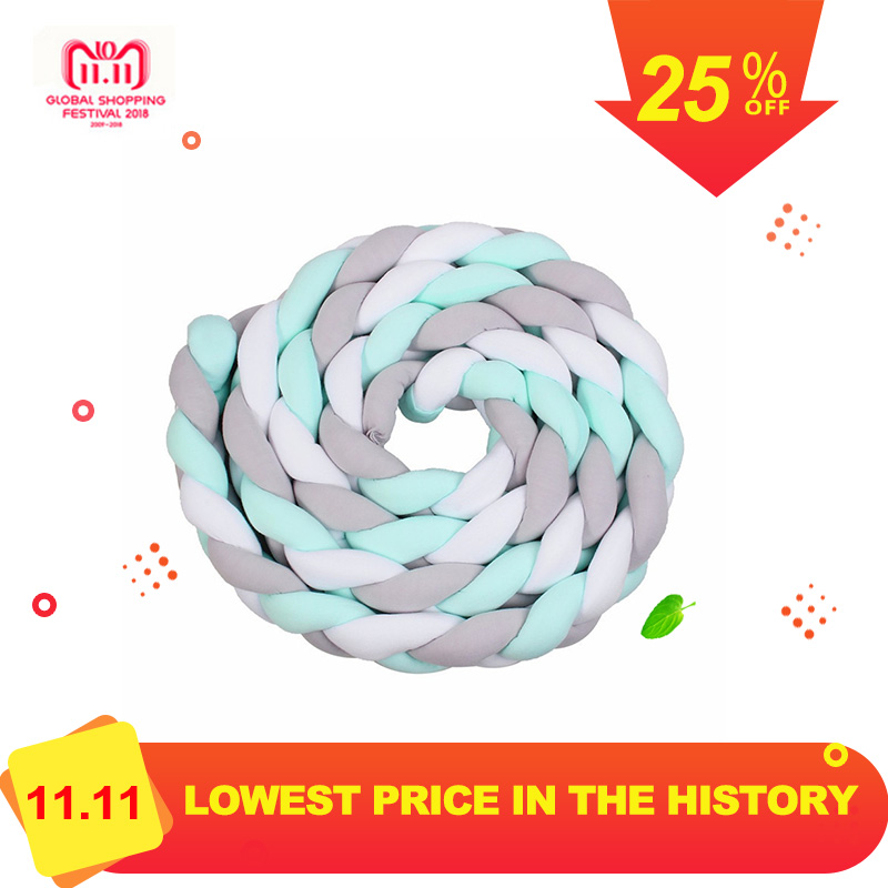 3M Length Nordic Knot Newborn Bumper Long Knotted Braid Pillow Baby Bed Bumper in the Crib Infant Room Decor 2m length nodic knot newborn bumper long knotted braid pillow baby bed bumper in the crib infant room decor