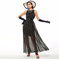 Sisjuly Women Summer Chiffon Dot Turtleneck Dress A Line Sleeveless Black Dress Party Beach Dress Maxi