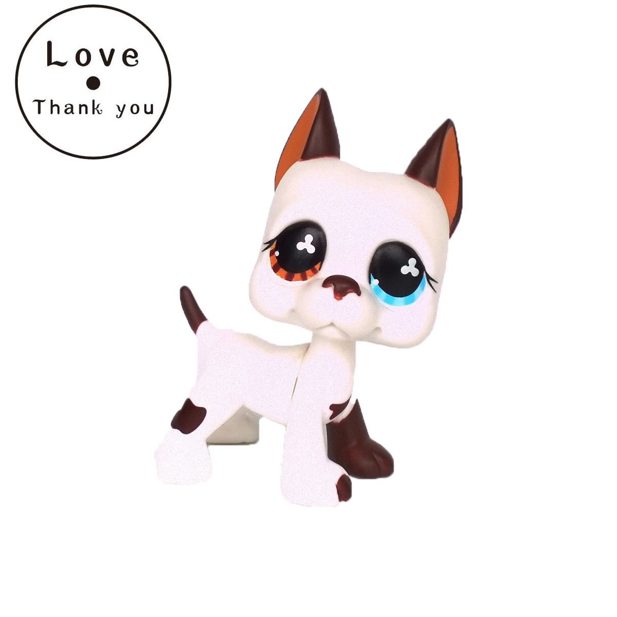 pet shop lps toys Great Dane Dog #577 Blue Brown Flowered Eyes White Puppy Figure Child Toy Without Magnet Dog Gift pet great dane 2598 pink dog red eyes