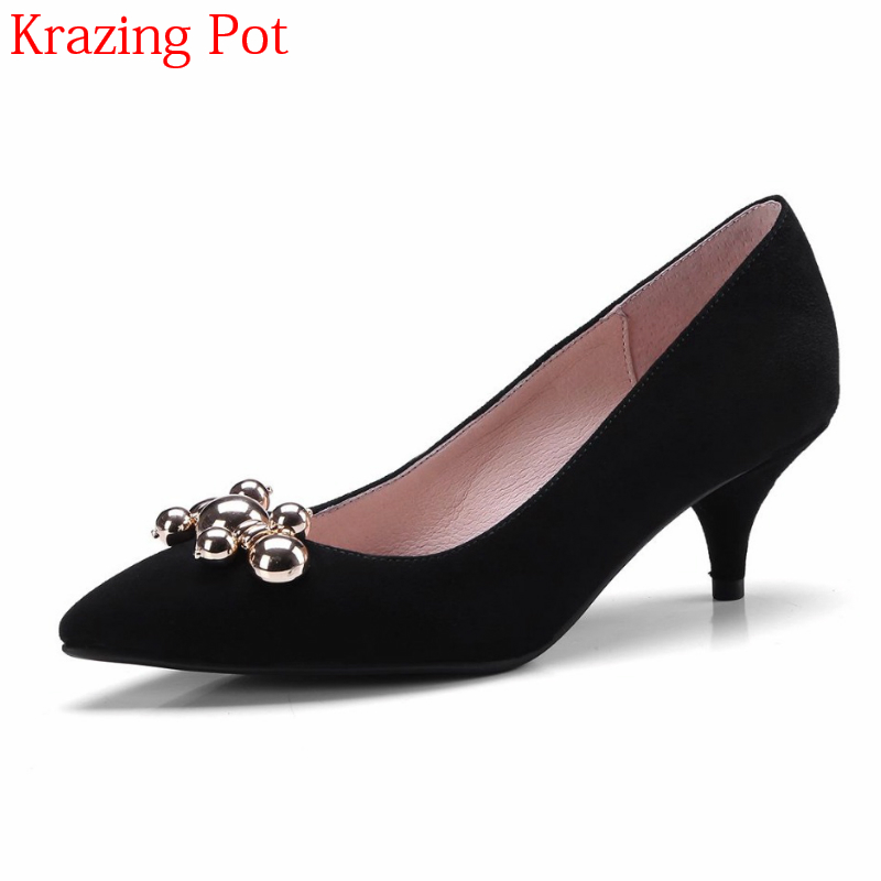Фотография 2018 New Arrivel Fashion Spring Shoes Pointed Toe Shallow Women Pumps Metal Fastener Popular Slingback Elegant Wedding Shoes L27
