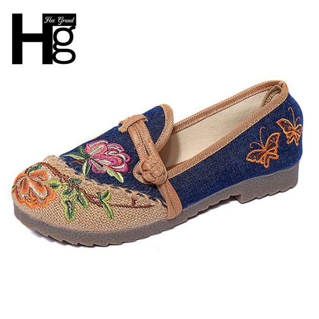 HEE GRAND Old Beijing Flax Shoes Woman Folk Custom Summer Cultural Embroidered Sandals Women Single Shoes Size 35-39 XWD3965