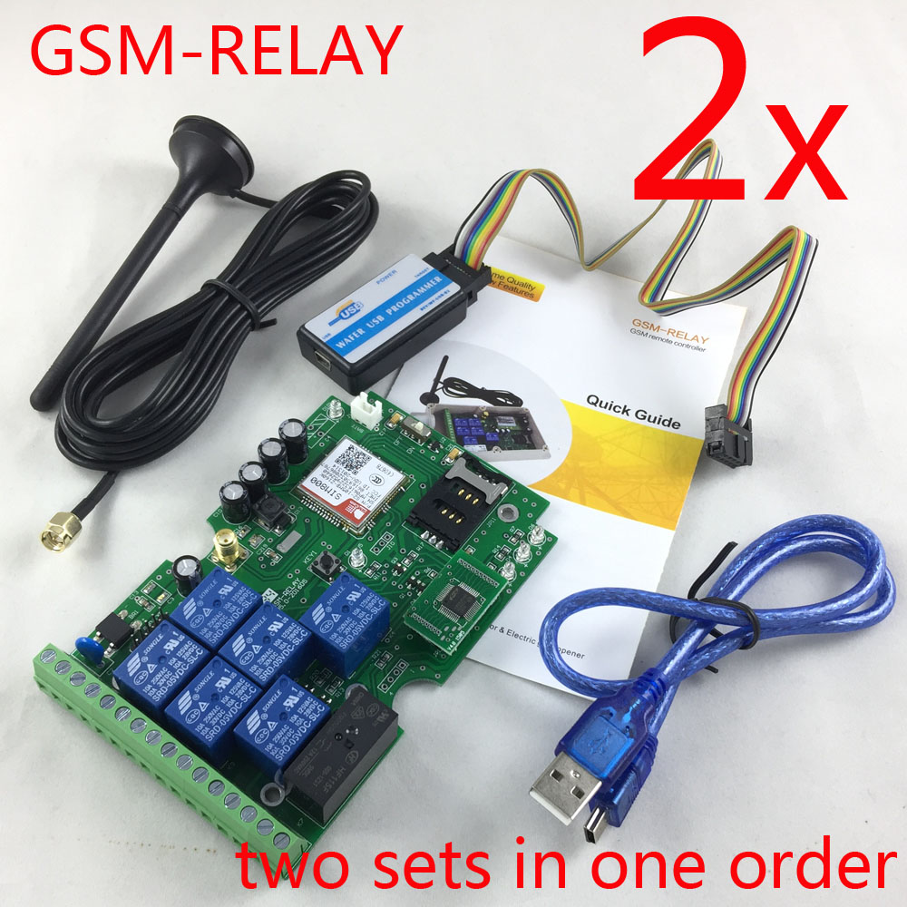 Express delivery 2pcs gsm relay sms call remote controller for control home appliance water pump motor rolling door on off