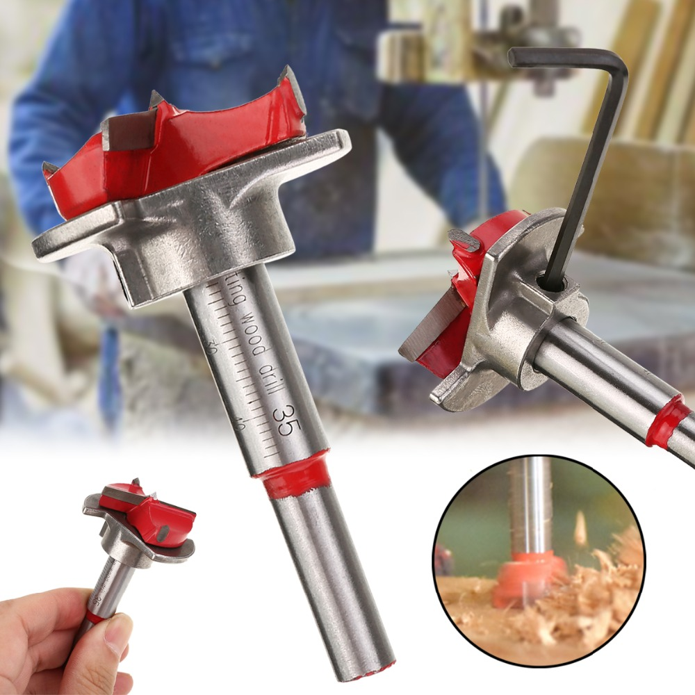 Mayitr 35mm Spotting Drill Bit Hinge Open Hole Forstner Woodworking Cutter +Hex Wrench Hand Drilling Tool