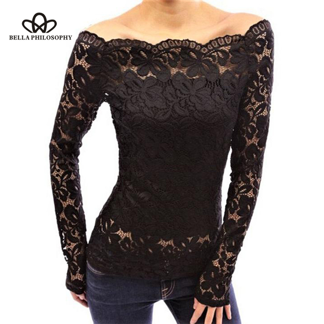 a8b6bfc6e65 US $8.99 40% OFF|Wonder 2018 new Black White Blue Red sexy Off Shoulder  Long Sleeve Lace Shirt Top Plus Size Women Blouses Lace tops-in Blouses &  ...