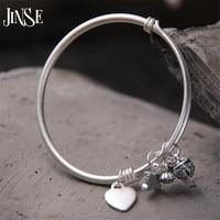 JINSE Women Fashion Vintage Heart Butterfly Charms Bracelet Love Flowers Round Pendant Charm Cuff Bracelet Female Jewelry 3mm