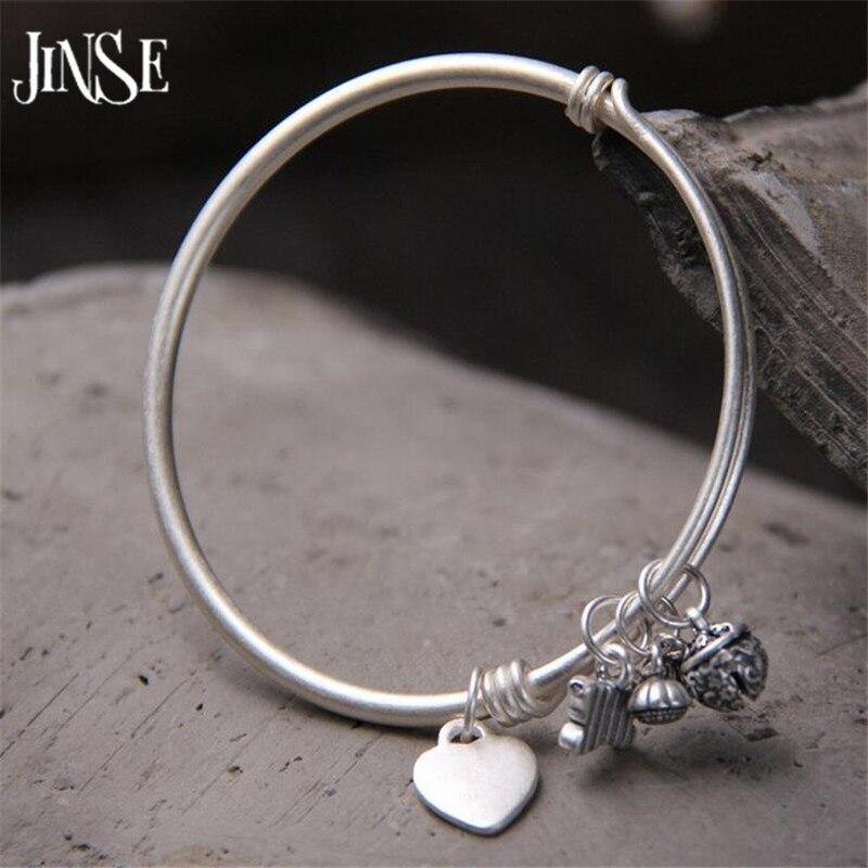 JINSE femmes mode Vintage coeur papillon Bracelet à breloques amour fleurs pendentif rond brassard breloque Bracelet femme bijoux 3mm